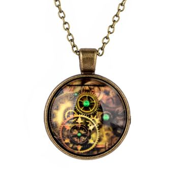 Vintage Compass Watch Cabochon Pendant Necklaces Charm Bronze Glass Long Chain Choker Necklace For Women Men Jewelry Shellhard