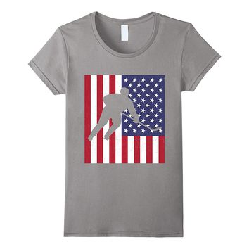 Usa Flag Hockey American Flag America Pride Sports T-Shirt