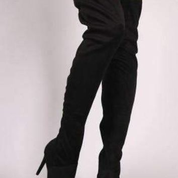 Anne Michelle Suede Pointy Toe Stiletto Over-The-Knee Boots
