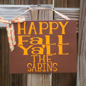 Happy Fall Ya'll Door Decor, 8x10 Digitally Printed Door Hanger
