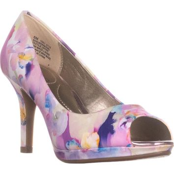Bandolino Supermodel Peep-Toe Pump Heels, Medium Pink Multi, 6 US