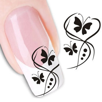 One Sheet Black Butterfly and Floral Pattern Water Transfer Printing Nail Sticker