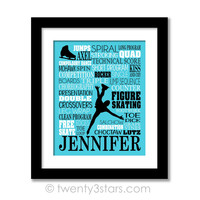 Figure Skating Typography Wall Art - Choose Any Colors - twenty3stars
