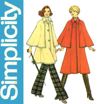 1970s Sherlock Holmes Cape Coat Pattern Bust 34 36 UNCUT Simplicity 7163 Capelet Coat Two Lengths Womens Vintage Sewing Pattern