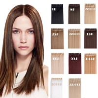"24"" Straight 3/4 Full Head Synthetic Hair Extensions Clip on Hairpieces 5 Clips"