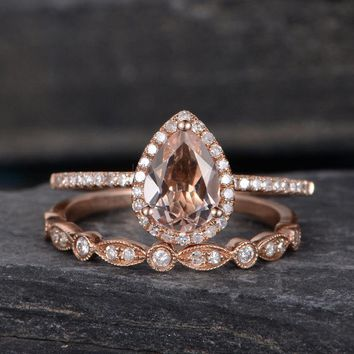 Morganite Engagement Ring Pear Shaped Ring Wedding Halo Diamond
