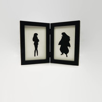 InuYasha and Kagome sweetheart couple 4x6 Framed Sets Hand cut paper art silhouette paper cutting geeky nerd craft geekery