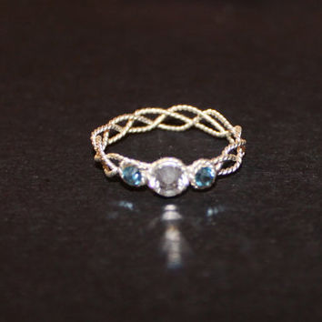 braided bedazzled wire ring