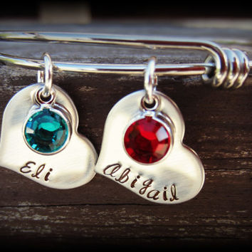 Alex and Ani Inspired Stainless Steel Bangle Bracelet with Hand Stamped Heart Tags and Birthstones-Personalized Mommy Jewelry