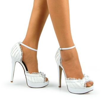 Peep Toe Bow Ankle Strap Platform Pumps White