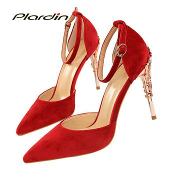 plardin 2018 women  Ankle Strap Bling Metal Decoration shoes woman pointed toe Suede material  women's Buckle pumps high heels