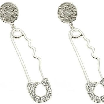 Clear Safety Pin Post Pin Earring