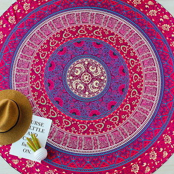 Red Flower Print Boho Style Round Beach Blanket