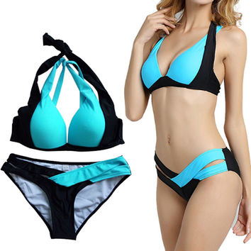 2016 new swimwear women set, with Underwire Fit Slim Mixed Color Cross Bathing Suit Halter Padded Sexy Brazilian Bikini