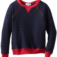 Splendid Littles Little Boys' Toddler Lexington Stripe Long Sleeve Raglan Sweatshirt, Navy/Flame, 3T