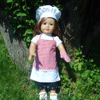 American Girl Doll Clothes, Apron, Chef's Hat, Oven Mitt, Red and White Gingham, 18 inch Dolls, OOAK