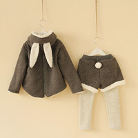 2y,3y,4y,5y,6y,7y 2pcs todderl girl clothes bunny suit grey bunny gray rabbit coat and pant
