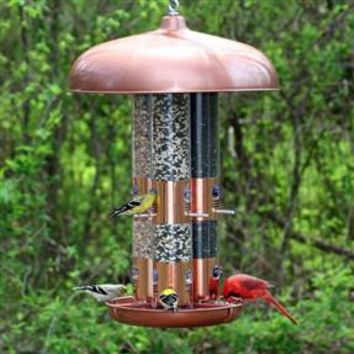 Copper finished triple tubed bird feeder