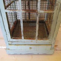 Large birdcage hand painted robins egg blue wood and rusty wire cottage style bird cage wedding or home decor anita spero