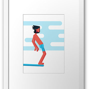 'Lukas- Classic Longboarder' Framed Print by Titus Ruiz