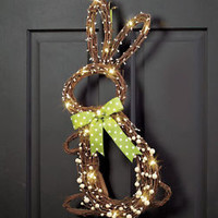"25"" Lighted Bunny Door Hanger Easter Indoor Outdoor Spring Twigs Decor"