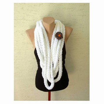 Finger knitting circle scarf, neck warmer  with a flower brooch, white, gift for her