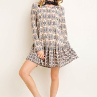 Printed Drop Waist Dress with Side Pockets
