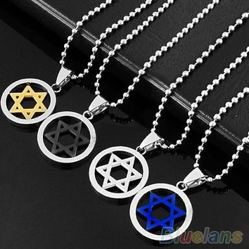 New Stainless Steel Pendant Necklace Men Unisex Silver Jewish Star of David  1OEP 6ONQ