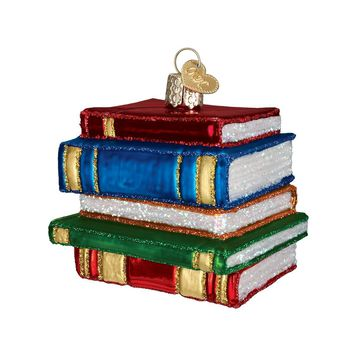 Stack of Books Blown Glass Christmas Ornament