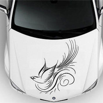HOOD CAR VINYL DECAL ART STICKER GRAPHICS NICE BIRD IN FLY NEAR THE WAVES S2041