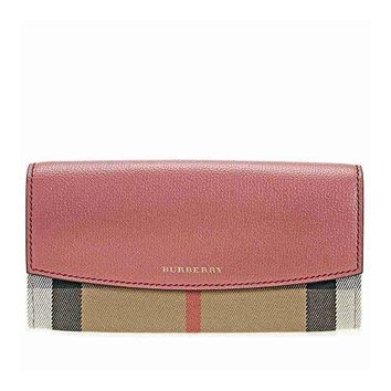 Burberry Women's House Check And Leather Wallet With Chain Cinnamon Red - Best Deal Online