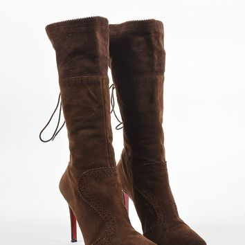 DCCK Christian Louboutin Brown Suede Brogue Detailed   Conquistador   Boots