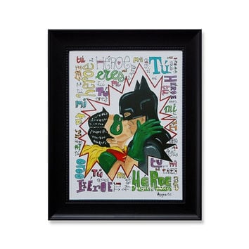 A3 Print. Gay art. Superhero Batman & Robin. Art Quotes Poster