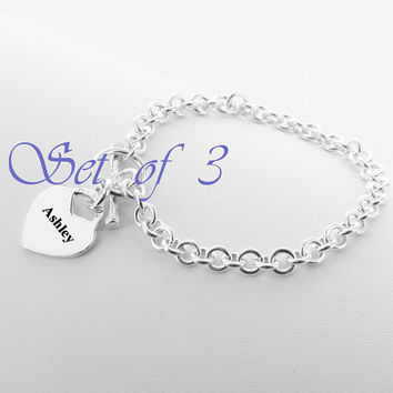 Set of 3 Personalized Heart Bracelet, Gifts Ideas for Bridesmaids, Bridal Party, Silver Heart Charm, Gold Toggle Clasp Bracelet, Heavy Chain