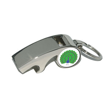 Peacock - Peafowl Bird Whistle Bottle Opener Keychain