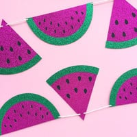 Watermelon Banner - Pink and Green Glitter Watermelon Party Banner - Watermelon Party // Summer Party Decor // Fruit Party Supplies