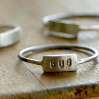 Custom Hand Stamped Silver Name Ring
