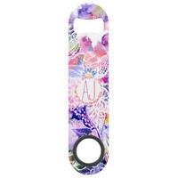 custom purple blue watercolor abstract floral speed bottle opener