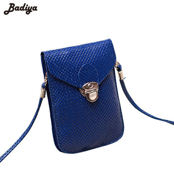 2016 Fluorescence Colors Women Mobile Phone Bags Fashion Small Change Purse Female Woven Buckle Shoulder Bags Mini Messenger Bag