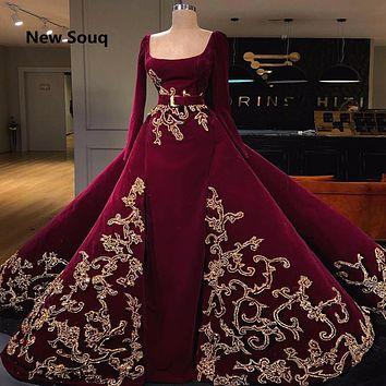 Burgundy Long Sleeves Muslim Evening Dress With Detachable Skirt
