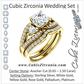 CZ Wedding Set, featuring The Karen engagement ring (Customizable Enhanced 3-stone Design with Asscher Cut Center, Dual Trillion Accents and Wide Pavé-Split Band)
