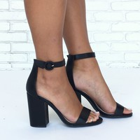 Lake Open Toe Strap Heels in Black
