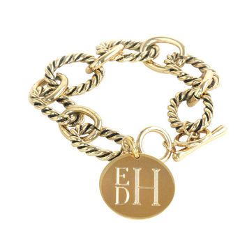 Personalized Engraved Toggle Bracelet - Silver and Gold Plated