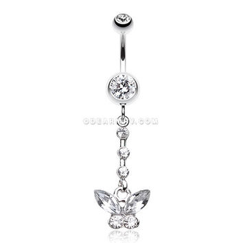 Butterfly Sparkly Belly Button Ring (Clear)
