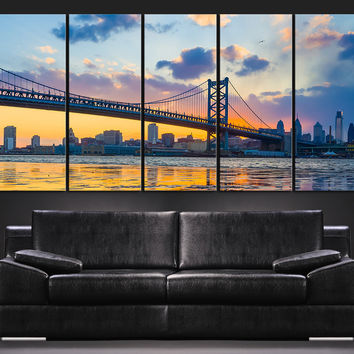 Large Wall Art City Landscape Canvas Print City Skyline Ben Franklin Bridge Large Modern Stretched Canvas Philadelphia Skyline by Night