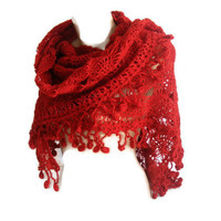 Valentines Day,Hand crocheted Shawl,red shawl,crochet shawl,wrap,stole,unique,for her