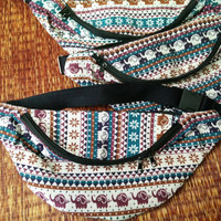 Elephants Fanny pack boho Styles Aztec Hippie Hipster Bum Banana bag Ethnic Ikat Bohemian Stripes print Multicolor cycling bag Festival
