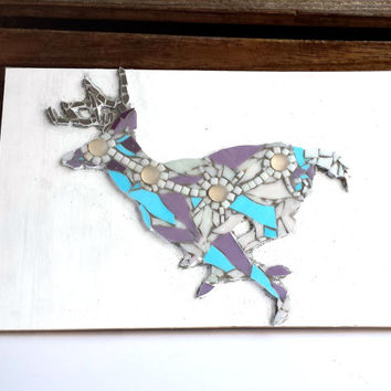 Deer Home Decor Mosaic Wall Art. Whimsical Woodland Nature inspired Glass Tile / Stained Glass Mixed Media Artwork Multicolor Running Buck.