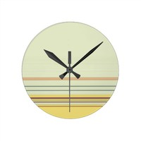 Stripes Bold and Subtle - Yellow and Green Round Wallclock
