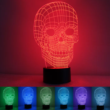 New 3D LED Night Light Acrylic Colorful Gradient Atmosphere Lamp Skull Novelty Lighting Table Lamp With USB Line Table Lamp